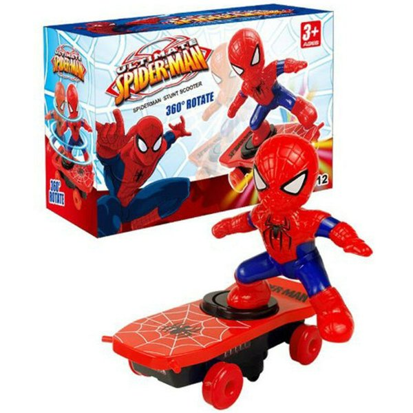 "top popular New Spiderman Electronic Stunt Scooter Skateboard 360"" Rotation Anime Sound Kids Toy 2020"