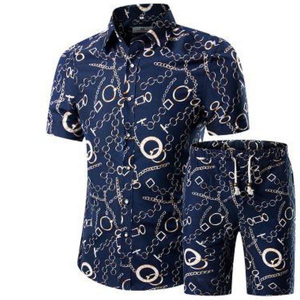 M-5XL 2019 Sportsuits Hombres Verano Conjunto Corto Transpirable Diseño Camisas de Moda de Hombre + Shorts Conjunto de Chándal Estilo de Tendencia