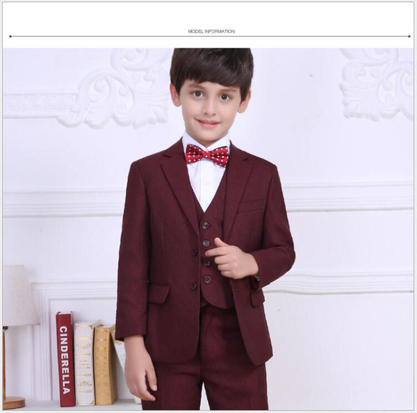 New Boys Suits Color Burgundy And Blue Flower Boys Wedding Tuxedos Three Pieces (Blazer+Vest+Pant) Formal Kids Clothing