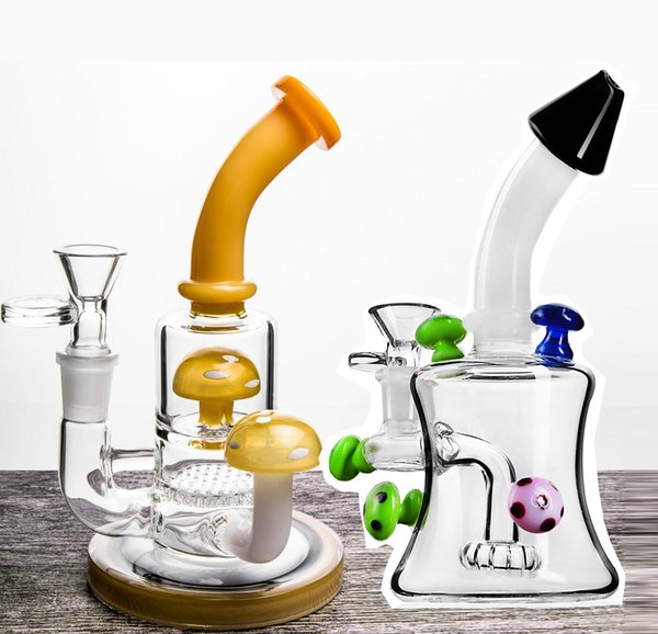 New Artist Mushroom Glass Bongs with honeycomb Perc hookah pipes water pipe with 14 mm joint