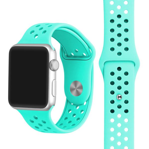 Correa de reloj de 38 mm 42 mm con agujero, correa de reloj de silicona transpirable para Apple Watch iWatch 1 2 3 Band
