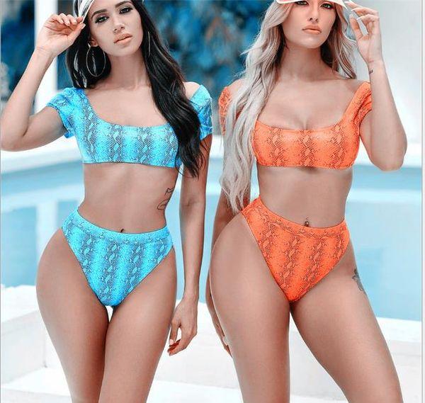 New Sexy Serpentine Printed Half-sleeve High-waist Bikini and Explosive Swimsuit in Europe and America in 2019