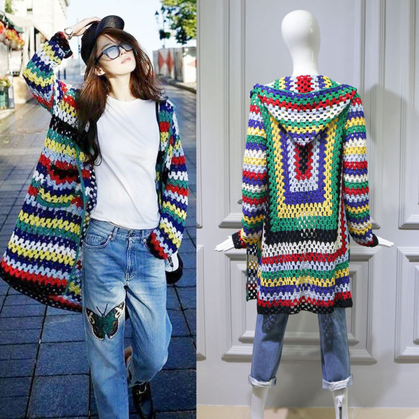 Fall Dress Star Liu Yifei In 2019 Wears Jeans with A Long Cap and Loose Cardigan In The Same Hollow Knitted Sweater Women