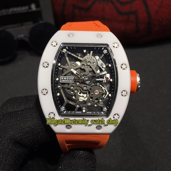 Best version RM 035 GOLD AND CERAMIC White Ceramics Case Skeleton Dial Miyota Automatic RM035 Mens Watch Orange Rubber Strap Sport Watches