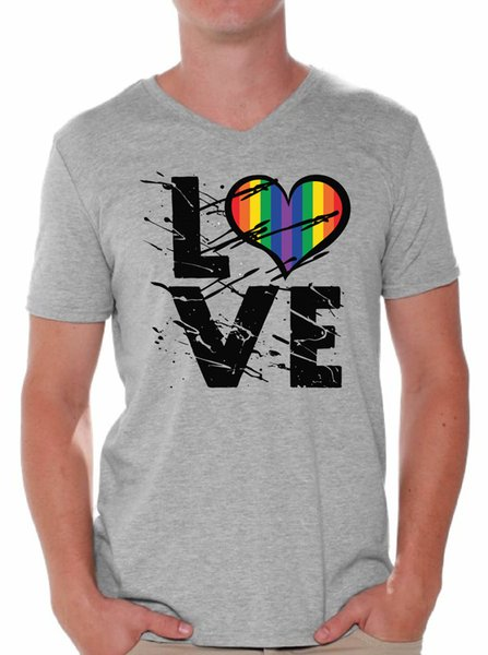 Men's Love V-neck T shirt Tops Love Rainbow mens pride dark t-shirt white black grey red trousers tshirt suit hat pink t-shirt