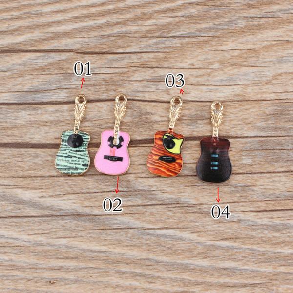 10pcs 11 * 25mm smalto della chitarra amuleti musica musicale gioielli fai da te stampa lega modellata accessori braccialetto pendente stampato