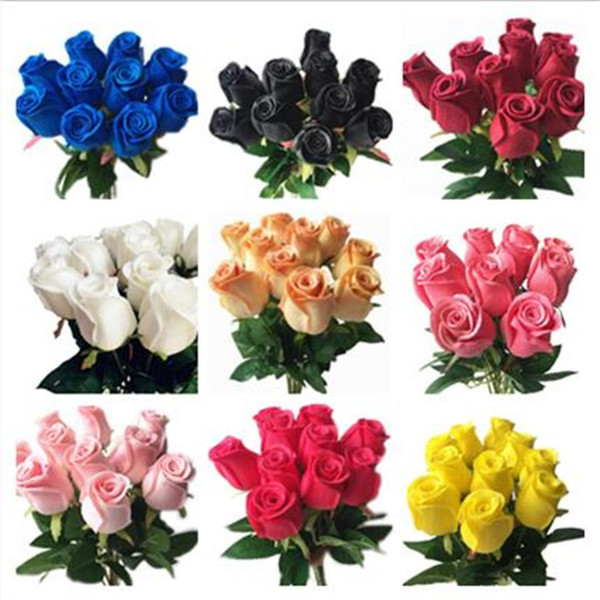 best selling one Real Touch Rose Simulated Fake Latex Roses 43cm Long 12 Colors for Wedding Party Artificial Decorative Flowers