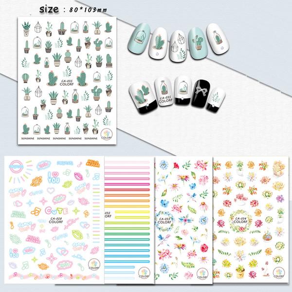 1Sheets Cactus fluorescente Kumamon prego decalques das etiquetas Nail Art Manicure Designs das flores de borboleta Detalhes no TipsTRCA028-036