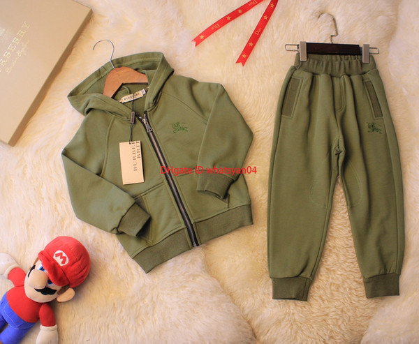 Children trousers sets kids designer clothing hooded jacket + pants 2pcs autumn classic models cotton material