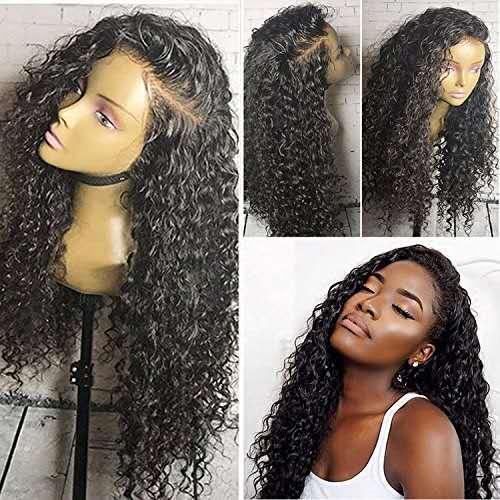 Parrucca anteriore del merletto 360 Pizzica pre-pizzicata Water Wave Curly per le donne nere Parrucca sintetica del merletto brasiliano Glueless capelli 150% Densità 14 pollici