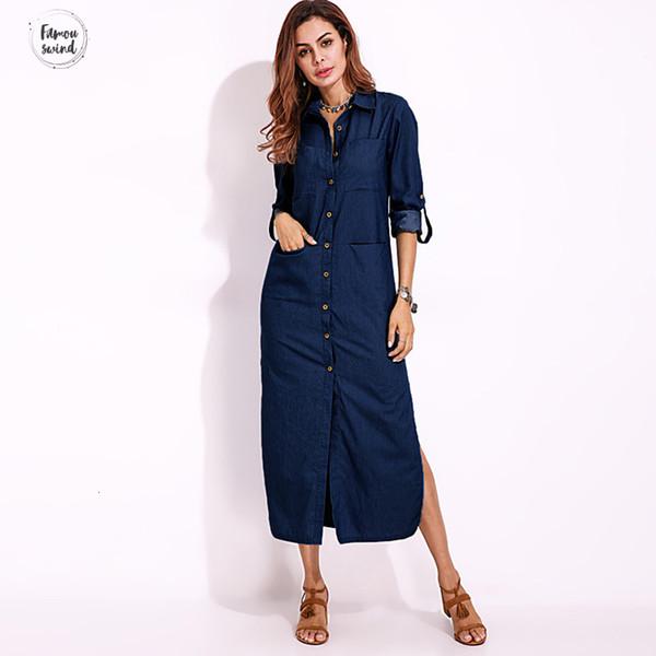 Vestido Kimono manga S Mulheres Casual manga comprida botões Baixo Denim 2019 Nova Primavera algodão azul solto Dividir Trabalho Vestido