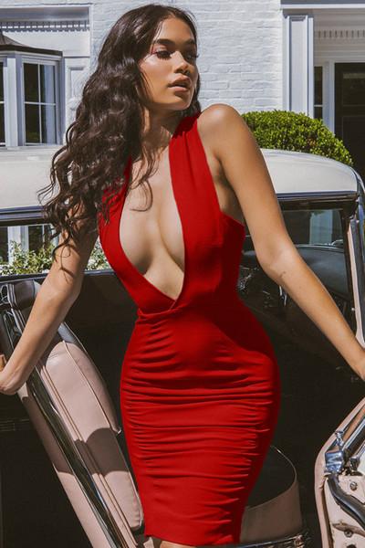 Primavera reta tributo irregular lace openwork colete saia sexy cor sólida das mulheres profundo decote em V vestido sem mangas