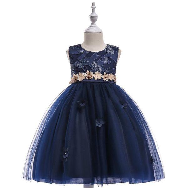 2009 New Ins Children's Skirt Princess Skirt Girl Dress Pengpengins Waist Flower Mesh Dress
