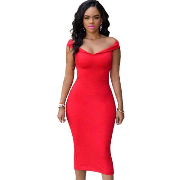 Sexy Off Shoulder Dress Bodycon Midi Dresses Women Backless Club Slim Skinny Dress with Zipper Red