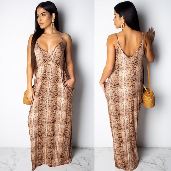 Women Sexy Print Maxi Dresses Lady Casual Snake Skin Printed Spaghetti Strap V Neck Loose High Waist A Line Dress