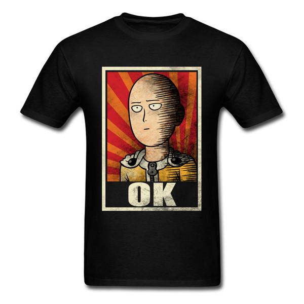 OK Um Soco Man T Shirt Superhero Roupas Preto Tshirt Dos Homens de Algodão Tops Tees de Verão Do Vintage Anime T-shirt Engraçado