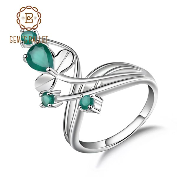 Gem's Ballet 0.97ct Natural Green Agate Gemstone Ring Solid 925 Sterling Silver Flower Ring For Women Wedding Fine Jewelry J190613