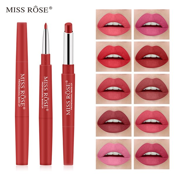 30 Colors Miss Rose Matte Lipstick 2 In 1 Waterproof Lipliner Long-lasting Moisturizing Lipsticks Professional Makeup TSLM2