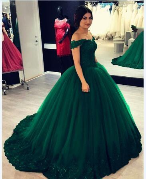 Verde esmeralda fora do ombro rendas quinceanera vestidos de baile 2019 vestido de baile apliques espartilho volta sweet 16 dress para meninas partido barato novo