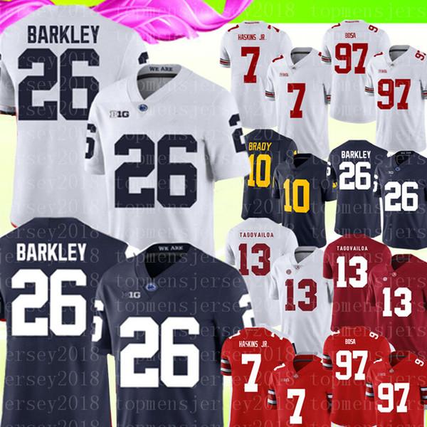 Penn State Nittany Lions 26 Saquon Barkley Trikot Herren Blau Weiß College Football Trikots 7 Dwayne Haskins Jr 13 Tua Tagovailoa 10 Brady