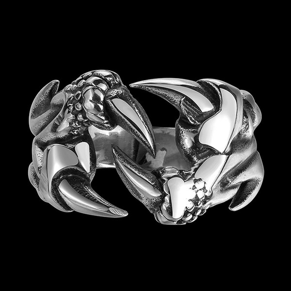 Dragon Claw Cool Band Rings Hiphop Stainless Steel Monster Paw Double Layer Ring Punk Rock&Roll Jewelry For Men's Prom Love Gifts POTALA114