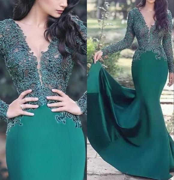 Árabe verde esmeralda Lace sereia Vestidos Sheer mangas compridas de cetim Applique Ruched Longo Formal Prom Party vestidos de 2020