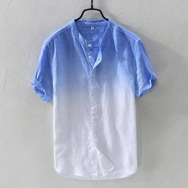 Farbverlauf Baumwolle Leinenhemd Männer Sommer Cool Dünne Kurzarm Gefärbt Shirt Casual Tops Asiatische Größe Camisa Hawaiana Hombre 2 #