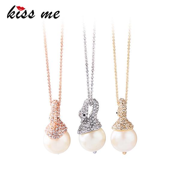 3 cores Swan Rhinestone imitação de pérolas colar de pingente de moda chique simples mulheres Bijoux