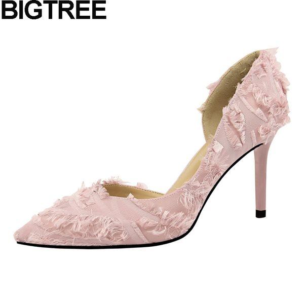 Dress Bigtree Autumn Sweet Women Wedding Shoes Pumps Slip On Fringe Tassel High Heels Silk Satin Stiletto Dress Office Lady Shoes 2019