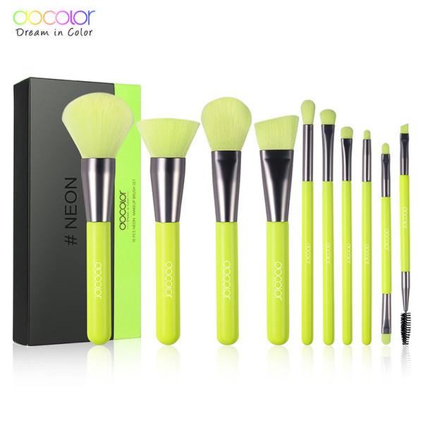 Les pinceaux de maquillage de couleur verte fluorescente de luxe Docolor sont fixés à la poudre de fondation, le fard à paupières, le fard à paupières, le correcteur de lèvre pour les yeux et le maquillage constituent un outil de beauté