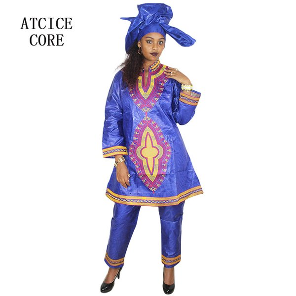 Free shipping new african bazin embroidery design dresses top with pants african clothes DP175#