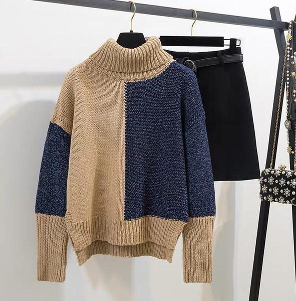 2020 femmes d'hiver deux pièces Dreees Bureau Casual Set Col haut Colorimétrie Knit extérieur Pull + laine Costume simple boutonnage Mini-jupe