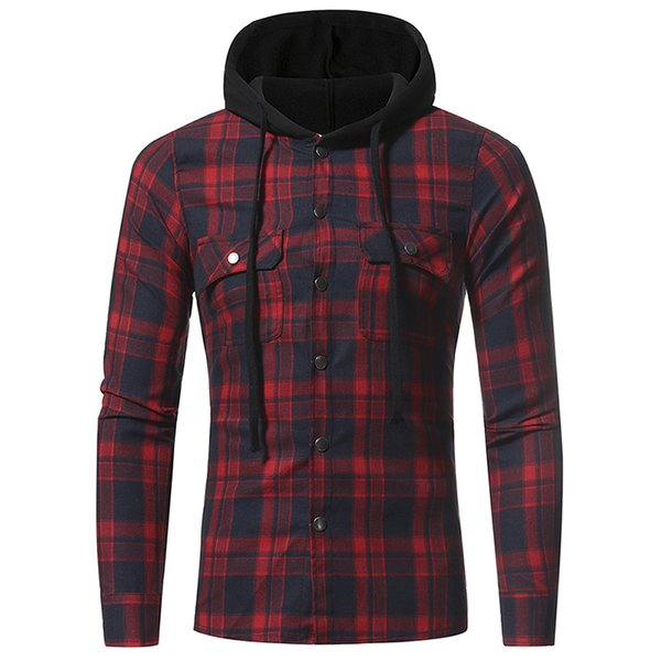 Men Plaid Shirts 2019 New Fashion Korean Wild Long Sleeve Flannel Hooded Shirt Casual Slim Fit Plus Size Cotton Men Clothes Red