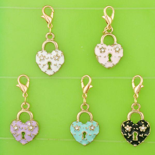 diy metal dangle enamel crystal rhinestone heart lock charms with clasp pendants for bracelet/necklace/earring jewelry making