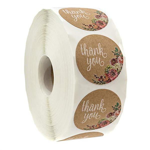 500 pçs / rolo 1 polegada kraft papel marrom obrigado etiqueta com flor rodada embalagem de presente selo adesivo de vedação DIY handmade etiqueta