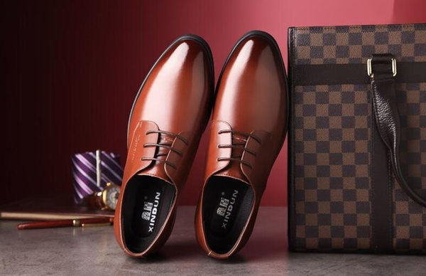 2019 Cheap PU Mens Dress Shoes Pointed Toe Leather Formal Shoes Men Oxfords Lace Up Men's Shoes For Wedding Business