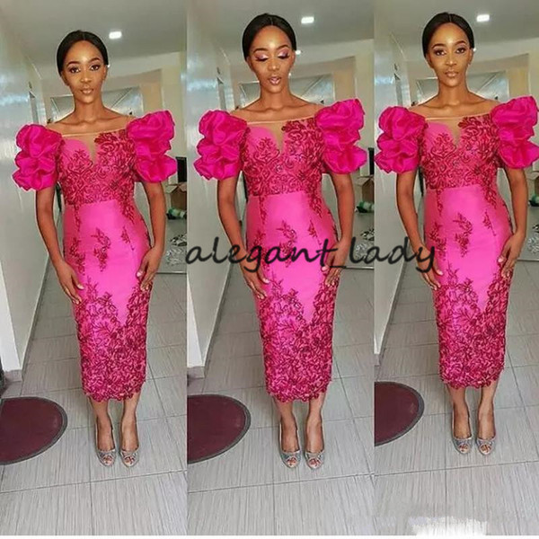 Fuchsia Tea-length Cocktail Party Prom Dresses 2019 African Off Shoulder Puffy Sleeve Lace Applique Sexy Short Prom Gowns