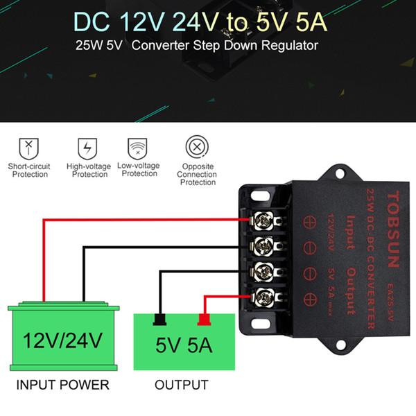 Alimentatore per convertitore da 12 V 24 V a 5 V 5 A CC da 25 W Alimentatore step-down Trasformatore elettronico per LED Strip TV Speaker Camera