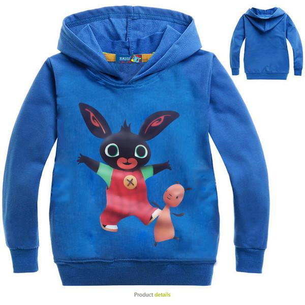 Autumn Kids Bing Bunny Cartoon Print Hoodies Coats for Boys Girls Rabbit Long Sleeves Hoody Sweatshirts for Children Costumes
