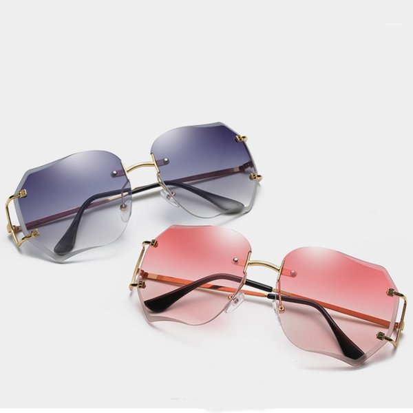 New Women Sunglasses Rimless Polygonal Design Sun Glasses Light Color Lenses 6 Colors Wholesale Eyewear Shop
