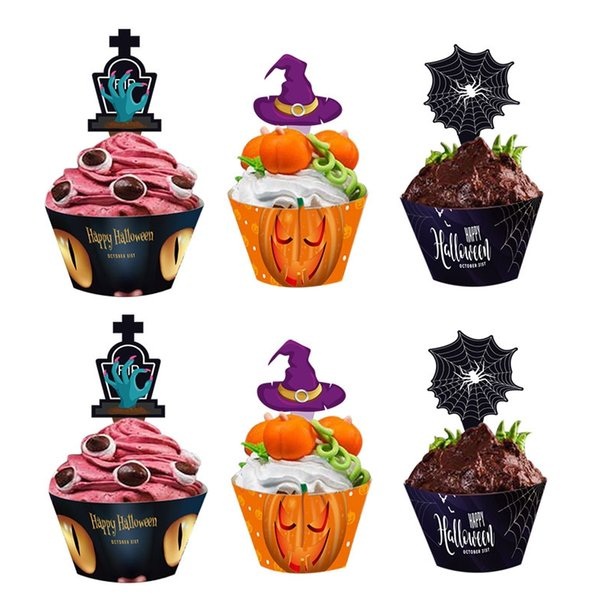 Halloween Festival Party Cake Card Insert Card Cake Cup Rim Cupcakes Decoration 24 PCS 1 SET ePacket