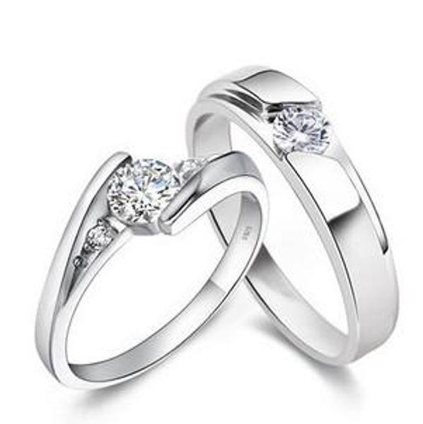 Anelli in argento sterling 925 Anello da fidanzamento con diamante Halo da 0,25 ct, set di fedi nuziali G -H Egl Usa 14k