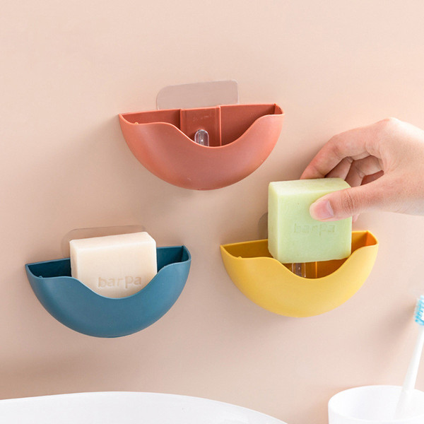Silicone Shower Soap Holder Wall-mounted Self-adhesive Soap Storage Rack for Kitchen Bathroom Sundries Storage Box Soap Dish