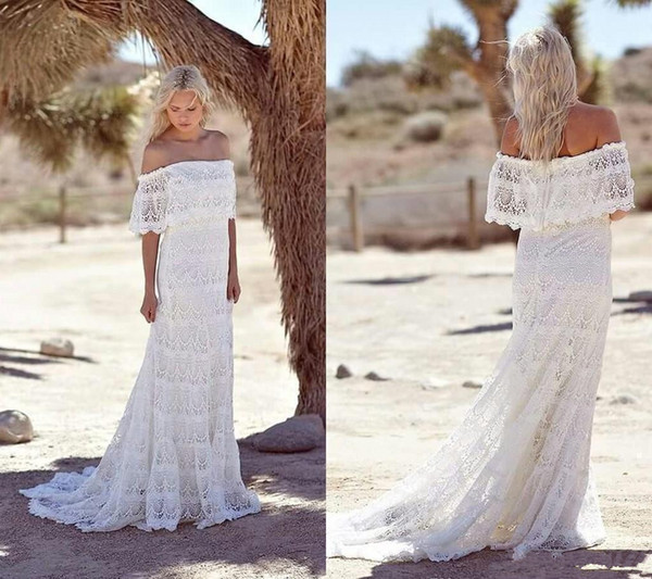 Simple Full Lace Country Boho Wedding Dresses Off The Shoulder Sweep Train Short Sleeves Cheap Beach Bohemian Bridal Gowns Plus Size