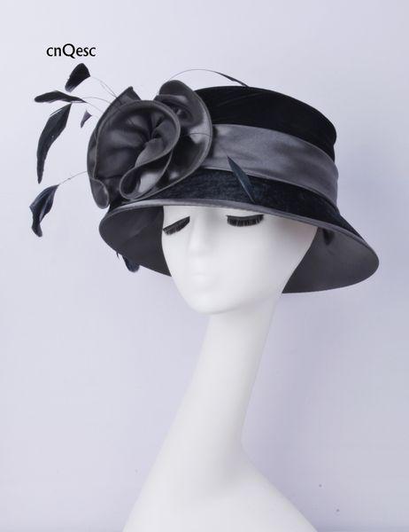 2019 chapéu de veludo cinza preto chapéu de cetim senhoras vestido formal chapéu pena fascinator para a igreja kentucky derby casamento.