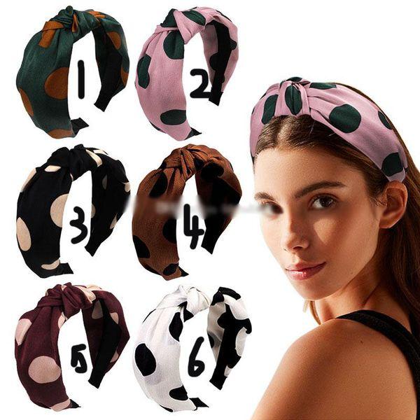 U-förmige Polka Dot Stirnband Frau geknotet Haarband Weihnachten böhmischen Stile Mode Haarband Mädchen Boutique Haarschmuck 6 Designer