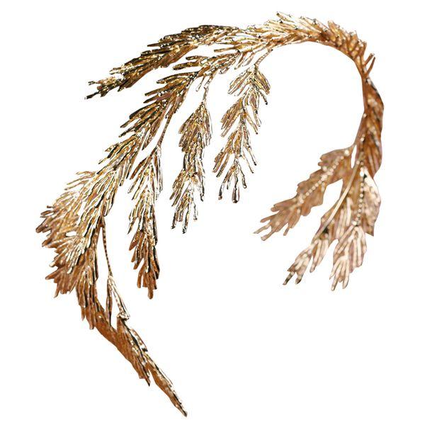 Барокко Венцы Gold Leaf оголовье волос ювелирные изделия Свадебные аксессуары для волос Princess Tiara Handmade Свадебный головной убор ободки