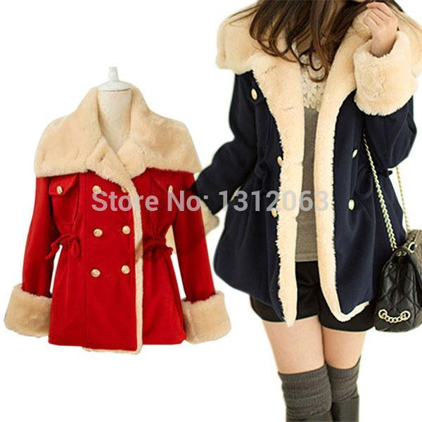 Kış Sıcak Kore Moda Yün Karışımı Ceket Kruvaze Kadın Coat Dış Giyim