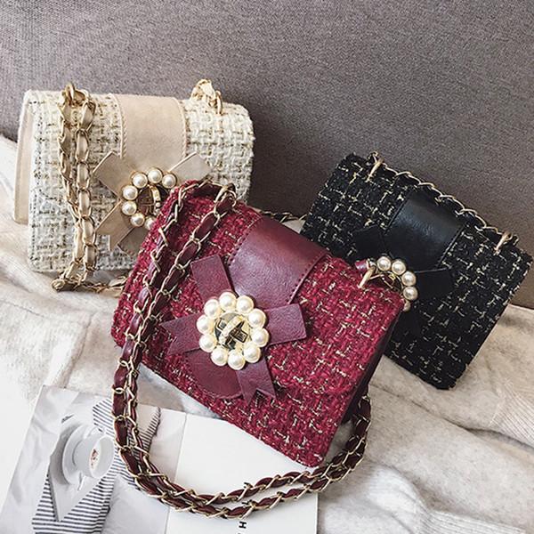Retro Wool Chain Small Flap Bag Woman Shoulder Messenger Bag Chic Pearl Flower Hasp Design Crossbody Bag For Women Purse 2019