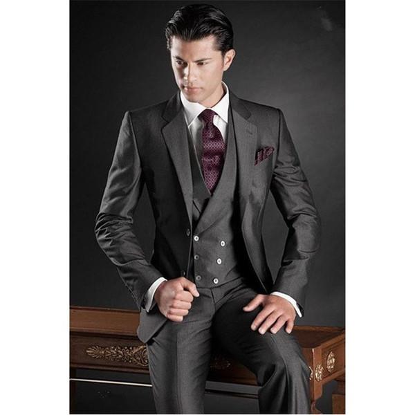 Custom Made wedding suit Charcoal New Groom Tuxedos Mens Suit Groomsmen Suit Wedding Suits (Jacket+Pants+Vest)
